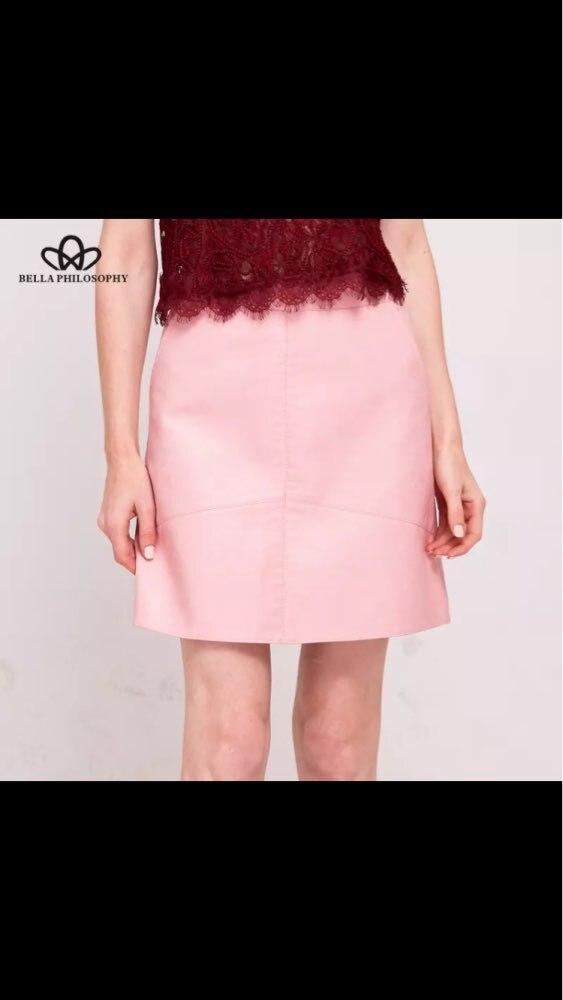 Bella Philosophy 2018 winter high waist Skrit PU faux leather women skirt pink yellow black green blue zipper mini skirt women