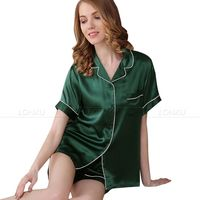 Women Silk Satin Pajamas Set Pyjama Set Short Sleeve Sleepwear S~ 3XL Plus