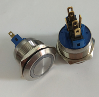 22mm Momentary Push Button Switch 24V White Angel Eye LED Waterproof Stainless Steel Round Metal Self Reset 7/8'' 1NO 1NC