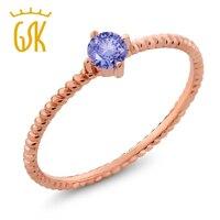 Classic Verlovingsring 0.18 Ct Ronde Natuurlijke Blue Tanzanite Real 10 K Rose Gold Ring Voor Vrouwen GemStoneKing