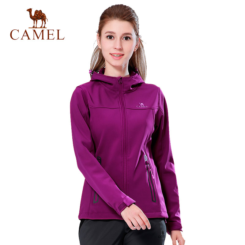 CAMEL Women Windproof Winter Outdoor Hiking Fleece Jackets Female Sports Camping Warm Comfort Jacket Mountain Coat