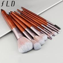 hot deal buy fld 11pcs wood handle professional makeup brushes set for cosmetic powder foundation women face makeup tools mutifunctional kit