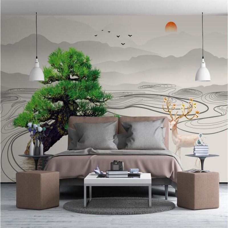 Modern minimalist new Chinese abstract artistic concept ink landscape ancient tree wall professional production wallpaper mural in Wallpapers from Home Improvement