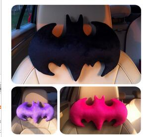 33cm black/rose color bat shaped plush neck pillow car decoration batman stuffed plush travel pillow cushion headrest