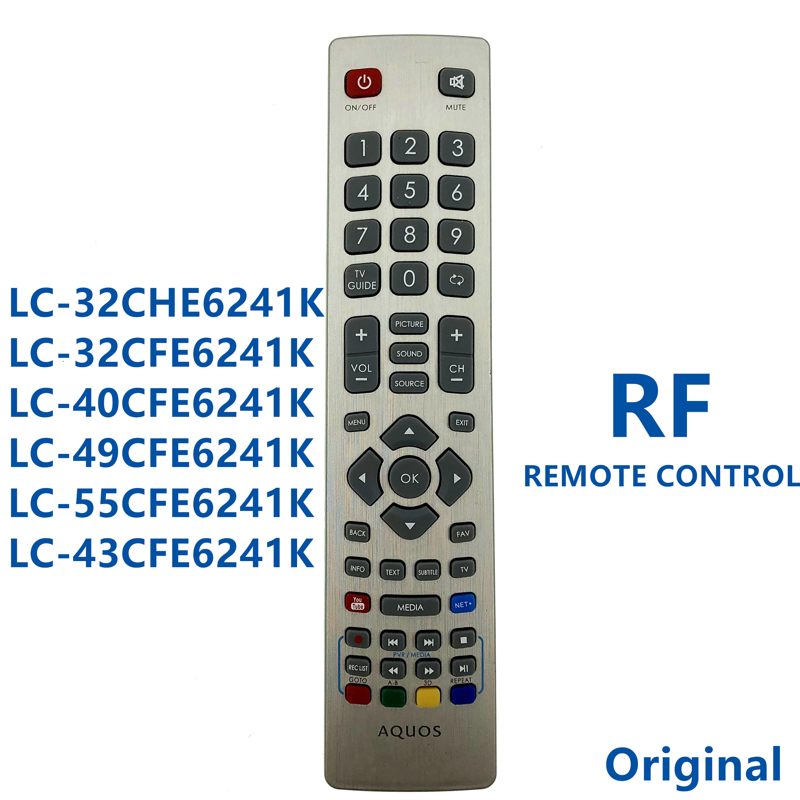 RF Remote Control For Sharp AQUOS 3D TV LC 32CHE6241K LC 32CFE6241K LC 40CFE6241K LC 49CFE6241K LC 55CFE6241K LC 43CFE6241K