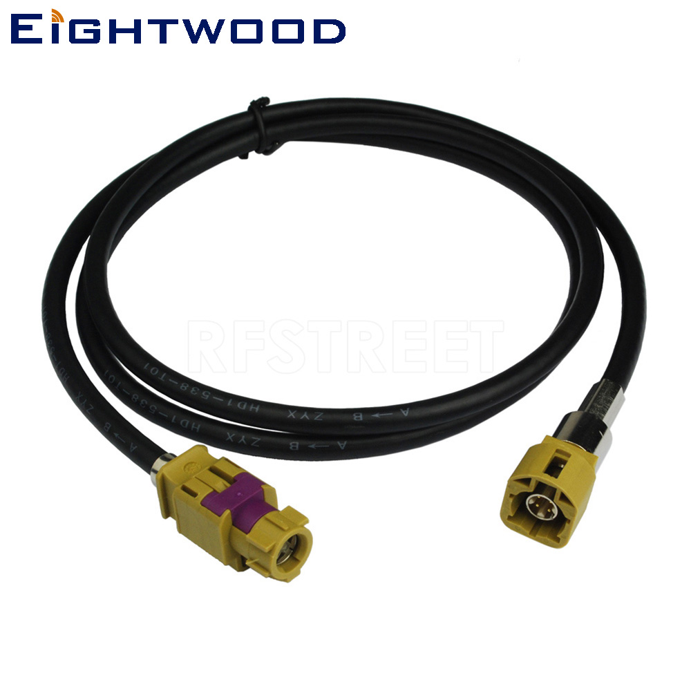 Eightwood New Vehicle High-speed Transmission FAKRA HSD Code K Curry LVDS 120cm Shielded Dacar 535 4-Core Cable