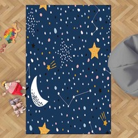 다른 네이비 블루 화이트 문 옐로우 별 공간 밤 3d 인쇄 미끄럼 마이크로 화이버 어린이 키즈 룸 장식 영역 러그 키즈 매트|카펫|   -