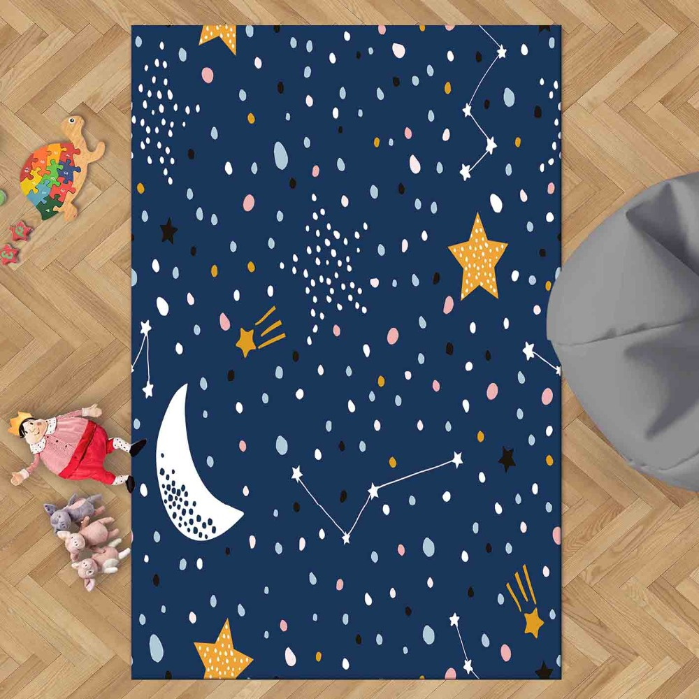 Else Navy Blue White Moon Yellow Stars Space Night 3d Print Non Slip Microfiber Children Kids Room Decorative Area Rug Kids  Mat