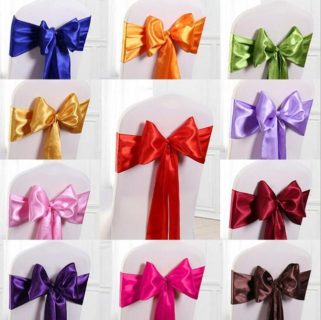 40 Pcs Lot Wedding Decoration Chair Satin Sashes Gold Bow Tie For