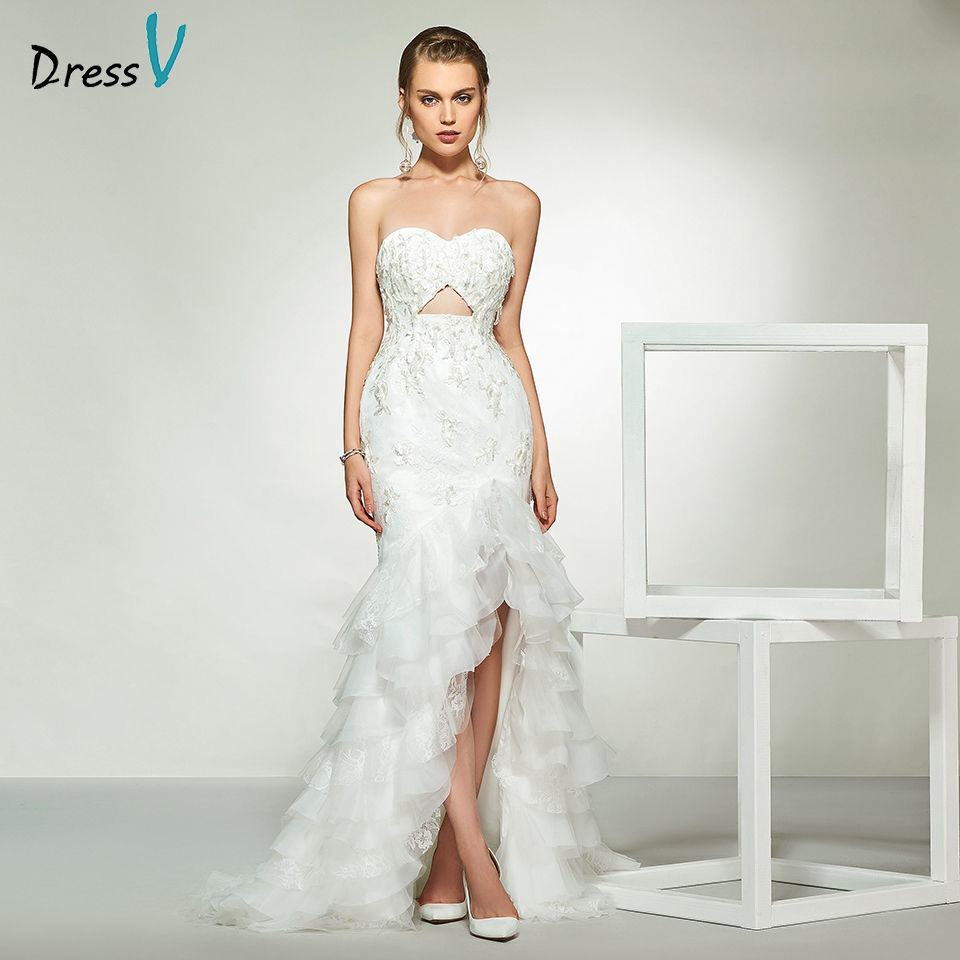 Dressv elegant ivory sweetheart neck beading appliques wedding dress floor length simple bridal gowns trumpet wedding dresses