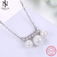 INALIS 925 Sterling Silver Necklace Sweet Romantic Wind Zircon Pearl Pendant Necklace For Women Girl Female