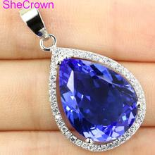 SPECIAL LONG PURPLE SAPPHIRE, AMETHYST, CZ WOMAN'S Wedding PARTY GIFT 925 Gold Silver Earrings 55X22mm