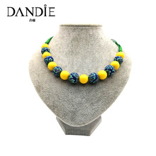 Dandie short necklace with yellow acrylic bead and soft pottery bead polymer clay  necklace dandie black acrylic bead fashion necklace jewelry short statement necklace