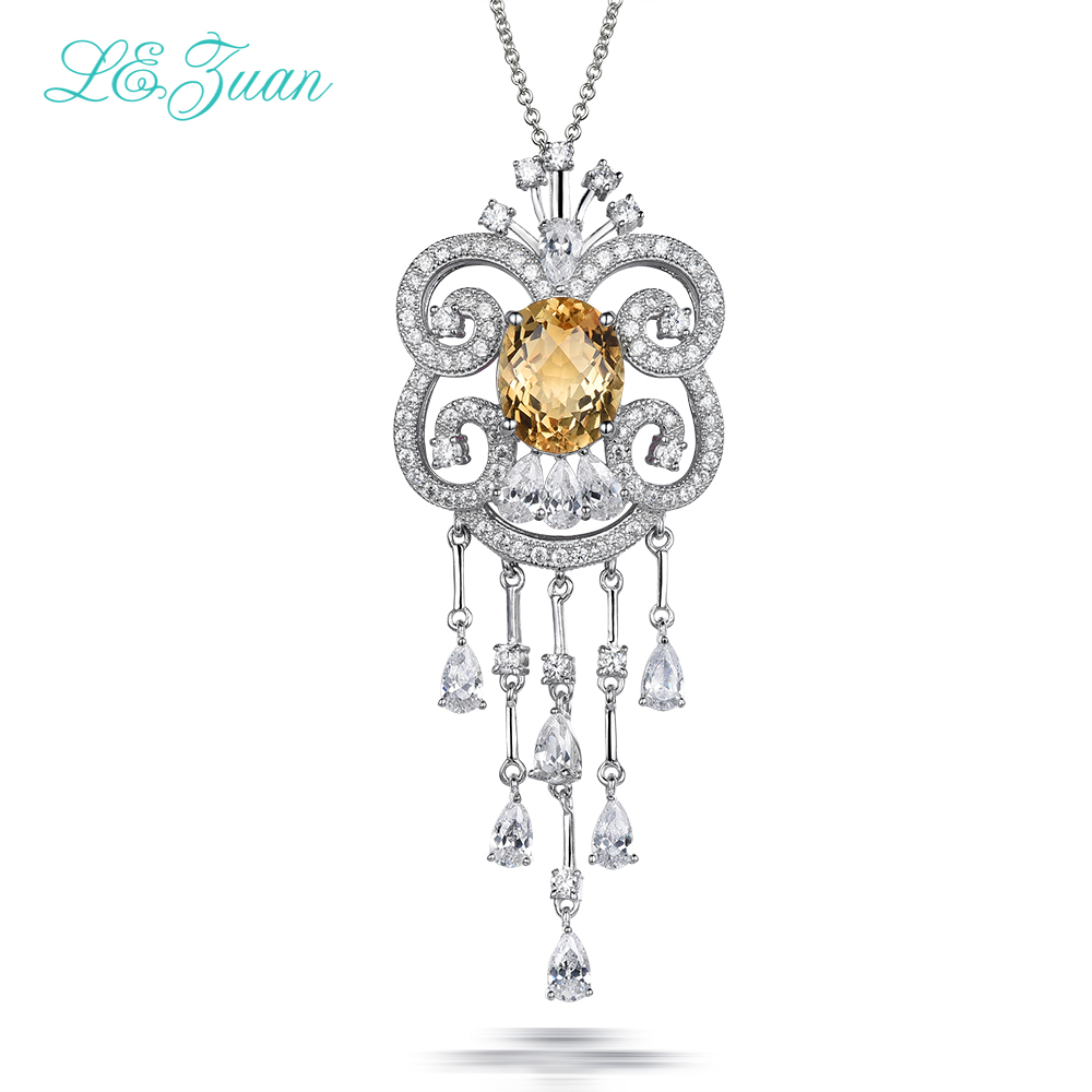 L&zuan 925 Sterling Silver Necklaces Pendants For Women 3.79ct Natural Citrine Romantic Fine Jewelry Collana Girocollo P0064-W05L&zuan 925 Sterling Silver Necklaces Pendants For Women 3.79ct Natural Citrine Romantic Fine Jewelry Collana Girocollo P0064-W05