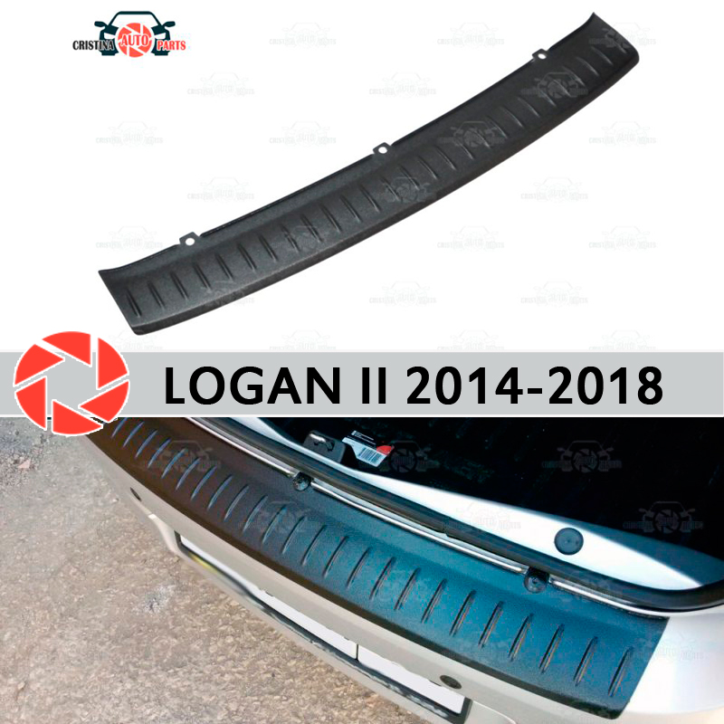 For Renault Logan II 2014-2018 guard protection plate on rear bumper sill car styling decoration scuff panel accessories molding free shipping fog light for peugeot 607 lr2 2006 2014 car styling front bumper led fog lights high brightness fog lamps 1set