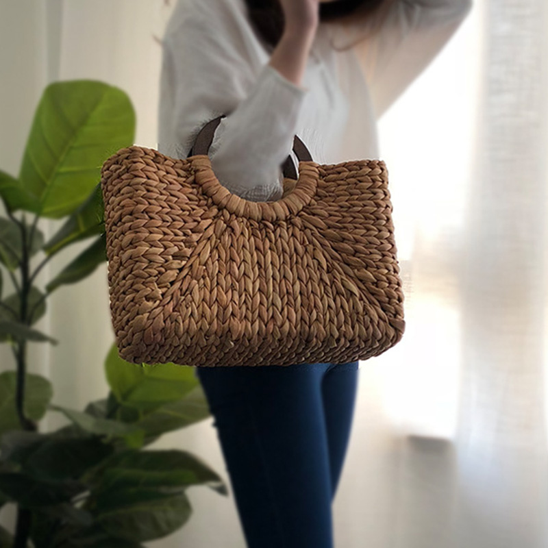 Women Vintage Rattan Handbag Female Bohemian Summer Beach Straw Bags Lady Simple Weave Bag Handmade Casual Large Tote SS3032 (3)