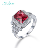 L Zuan Classical 3 62ct Red Stone Rings 925 Sterling Silver Jewelry Ring For Women