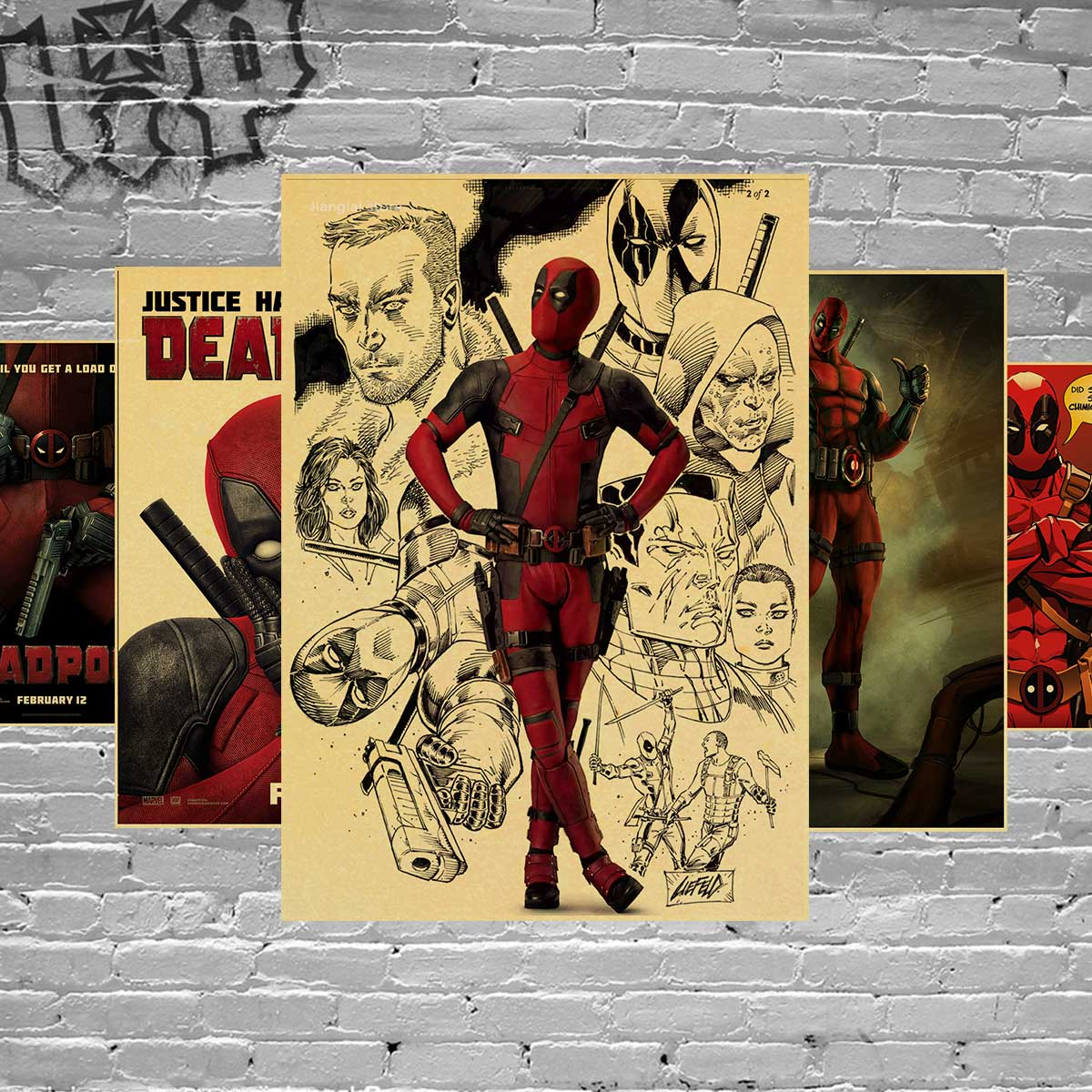 Vintage poster marvel deadpool poster Wall stickers for kids rooms pegatinas de pared de superheroes stickers