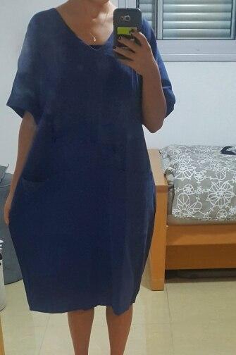 Summer Women V Neck Short Sleeve Pockets Loose Solid Shirt Vestido Casual Elegant Cotton Linen Work Dress Plus Size photo review