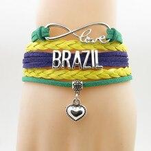 Бесконечная любовь бразильский браслет сердце браслет с подвесками Love страна обаятельные Браслеты и ожерелья, браслеты для женщин и мужчин ювелирные изделия
