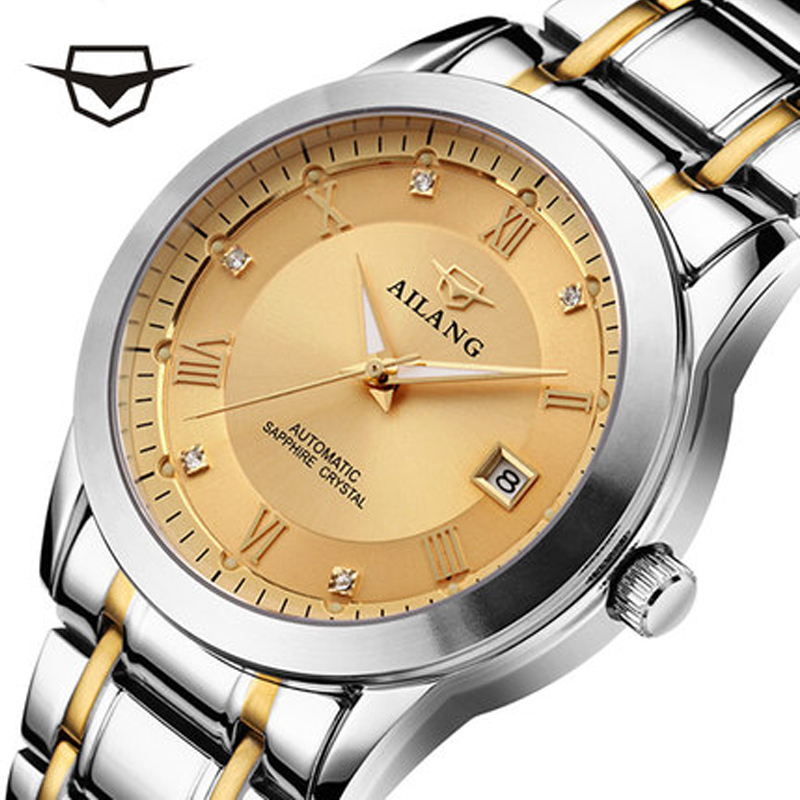 лучшая цена AILANG luxury brand high quality automatic mechanical watches are waterproof Mens Watch tungsten steel watchband
