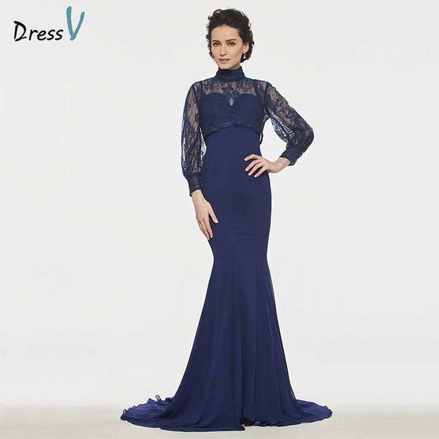 2809a40b65b7 Dressv elegant high neck trumpet long sleeves mother of bride dress button  floor length lace long mother evening gown custom
