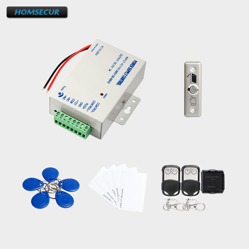 HOMSECUR 5Pcs RFID Card +5Pcs RFID Keyfob +Power Supply+ Remote Controller+Metal Exit button 5pcs ht16k33 sop28