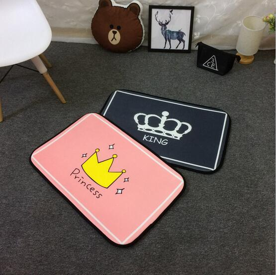 50*75cm Lovely Pink Princess Crown Style Mat Rug Doormat