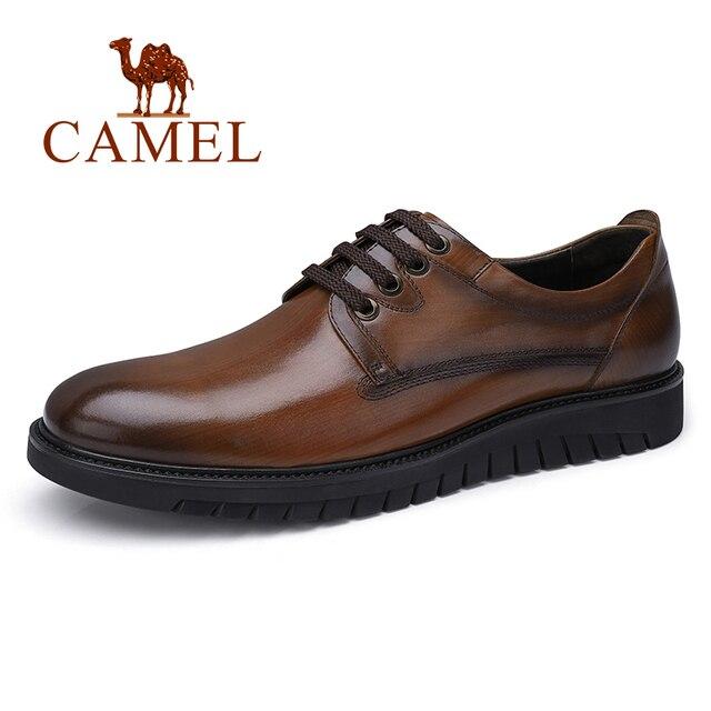 גמלים עסקי גברים נעלי עור אמיתי נעליים יומיומיות שמלה/משרד רטרו אנגליה זכר חרוך בציר צבע עור נעלי גברים