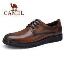 CAMEL Business Men Shoes Genuine Leather Casual  Shoes Dress/Office Retro England Male Charred vintage color leather Shoes Men