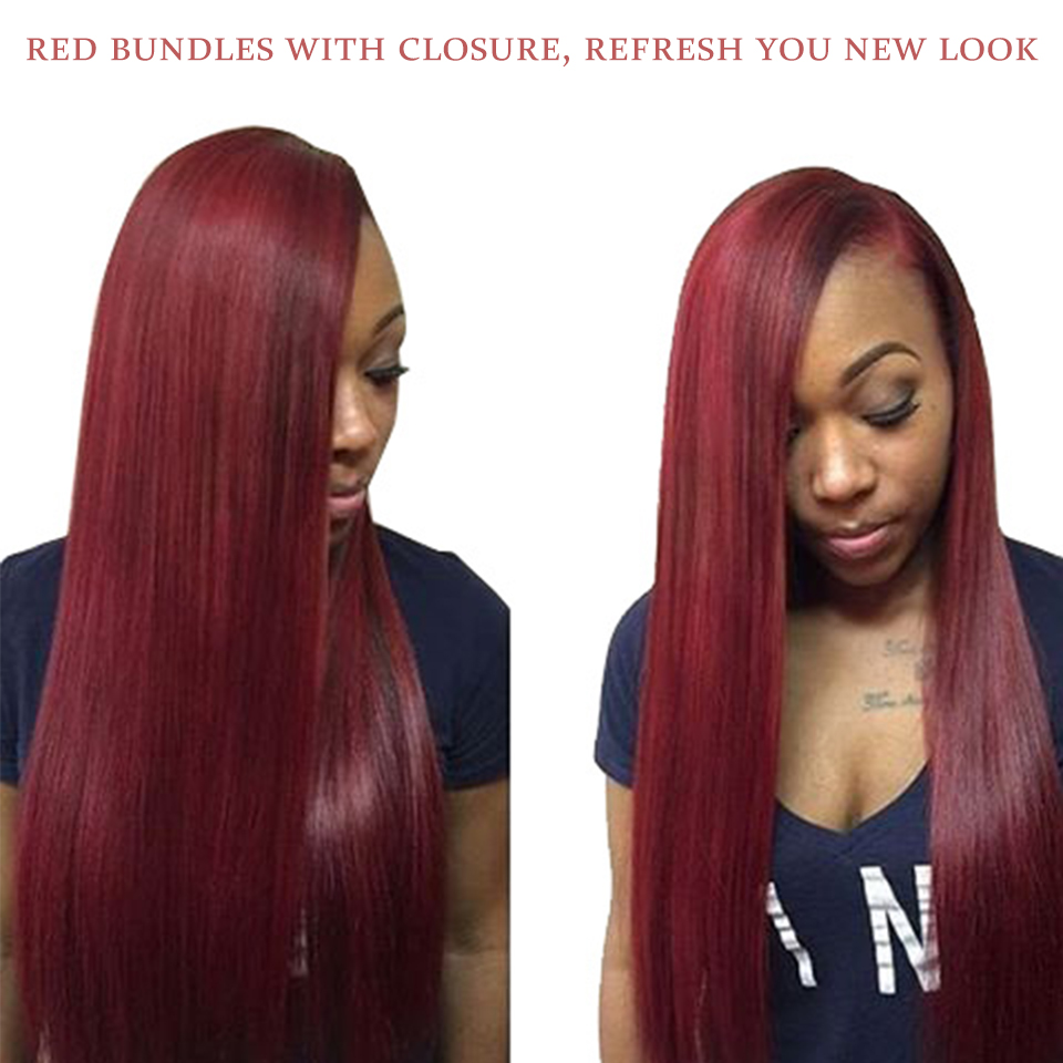Summer 99j Red Bundles With Closure Straight Burgundy Brazilian Hair