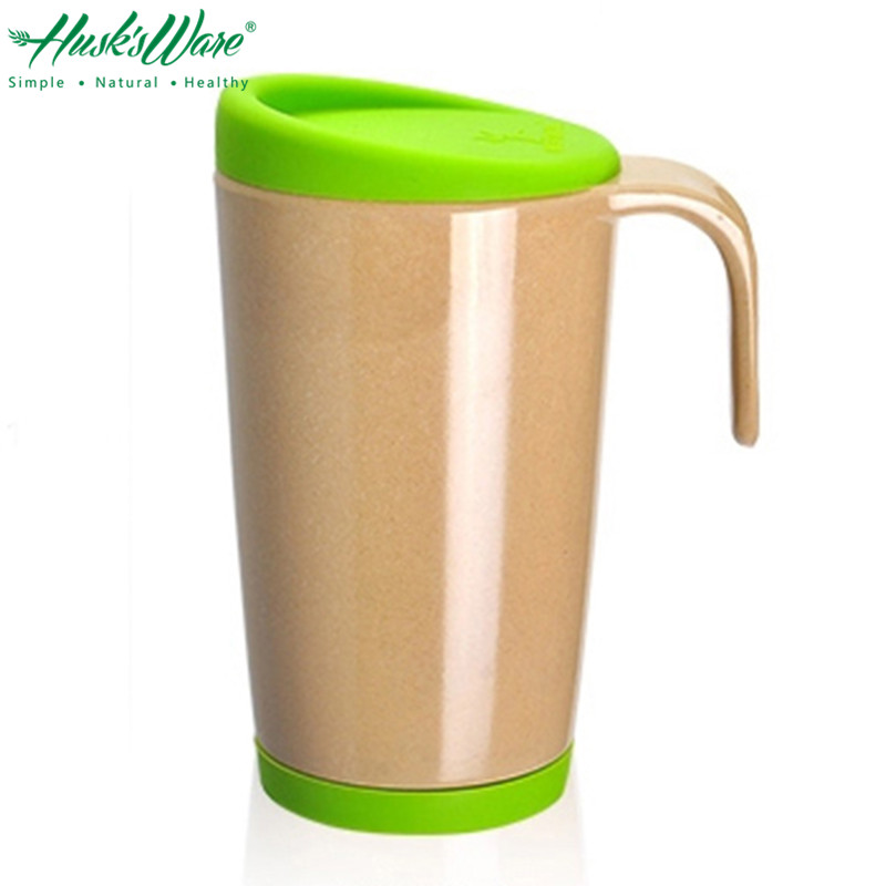 Natural Rice Husk Coffee Mug Cup with Lid Handle Brief Fashion Morning Milk Cup Office Coffee Drinking Mug Drink Ware Gifts