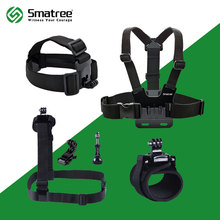 Smatree 6 in 1 Accessories Kit with Wirst/Head/Chest Strap Mount for GoPro Hero Gopro hero 5 4 Xiaomi yi 4K Action camera SJCAM(China)