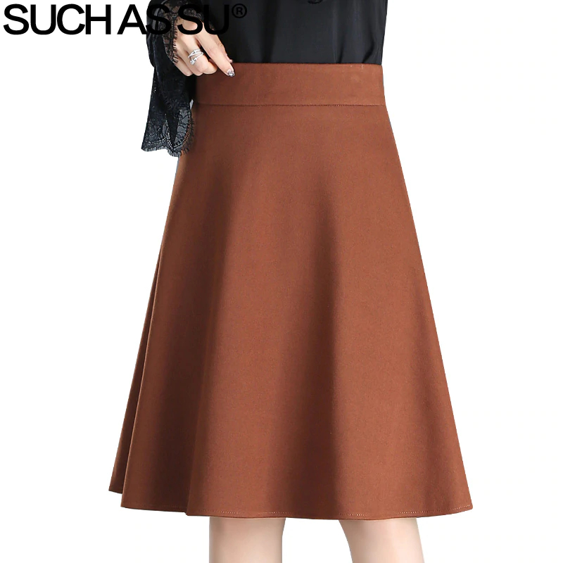 Grinding Woolen Skirt 2018 Women Fall Winter Black Brown Knee Length Line 3xl