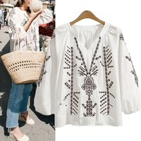 2017 Womens Vintage V Neck Lantern 3 4 Sleeve Embroidery Autumn Lace Up Loose Casual Shirt