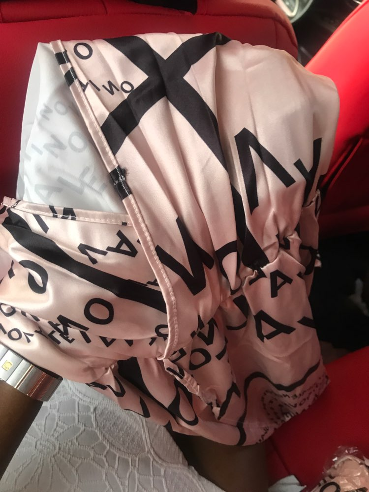 Women Letter Print Sexy V Neck Thigh Slit Maxi Dress Long Sleeve Elegant Boho Beach Dress Casual Long Dresses photo review