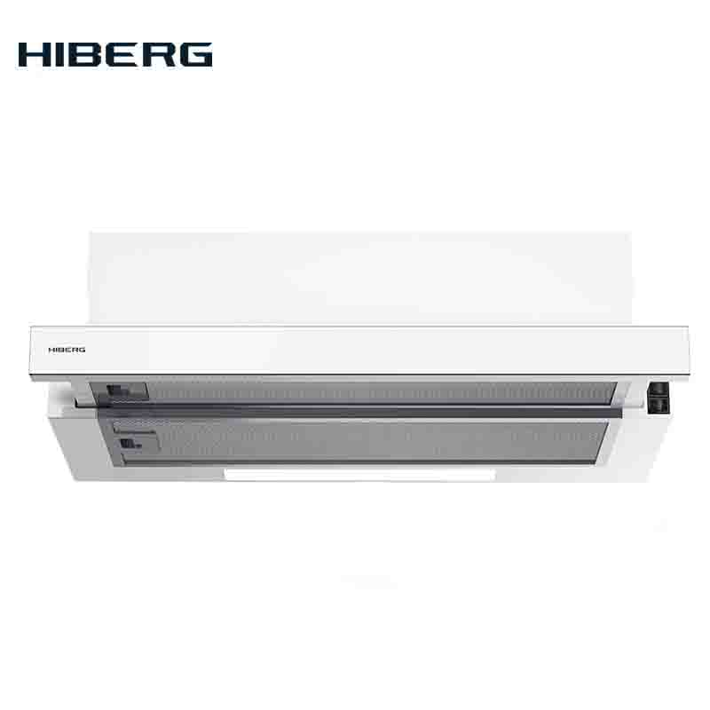 Built-in Hood HIBERG VB 6040 GW, Slider, With Black Glass On The Panel Kitchen Built-in Stainless Steel Home Appliances