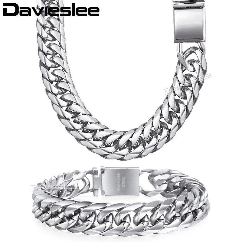 Davieslee мужские Цепочки и ожерелья браслет-цепочка кубинской 316L Нержавеющаясталь цвета: золотистый, серебристый тон 16 мм LHSM04