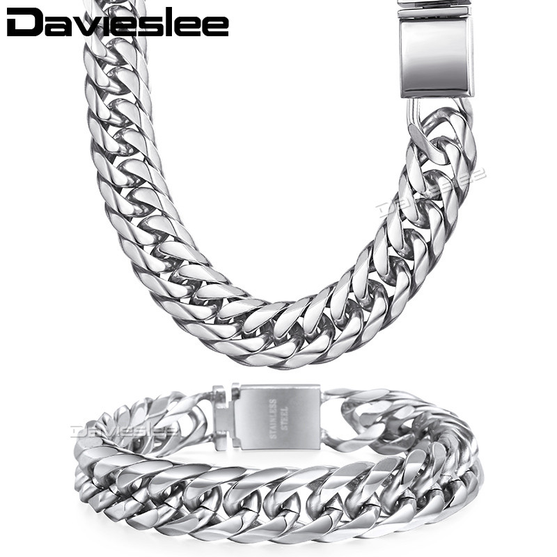 Davieslee Mens Necklace Bracelet Chain Cuban Link 316L Stainless Steel Gold Silver Tone 16mm LHSM04 7 rose gold black color unique new cuban link chain design cool mens jewlery hiphop rock wide cuban link chain bracelet bangle
