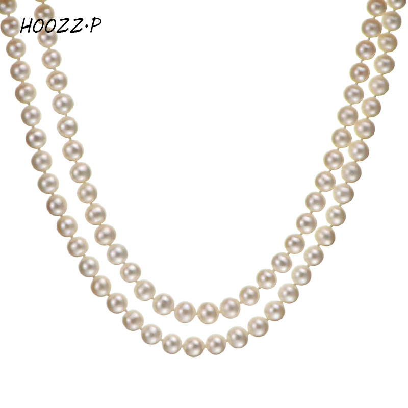 7642d2d931079 US $159.0 |Aliexpress.com : Buy HOOZZ.P 6 7mm AA Quality White Freshwater  Cultured Pearl Necklace in Double Strand women from Reliable necklace a ...