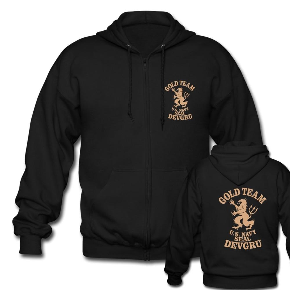 US Crusaders Seal Team Six Gold Team Special Force Men's Black Zipper Hoodies Mens Hood Sweatshirts Euro Size S-3XL