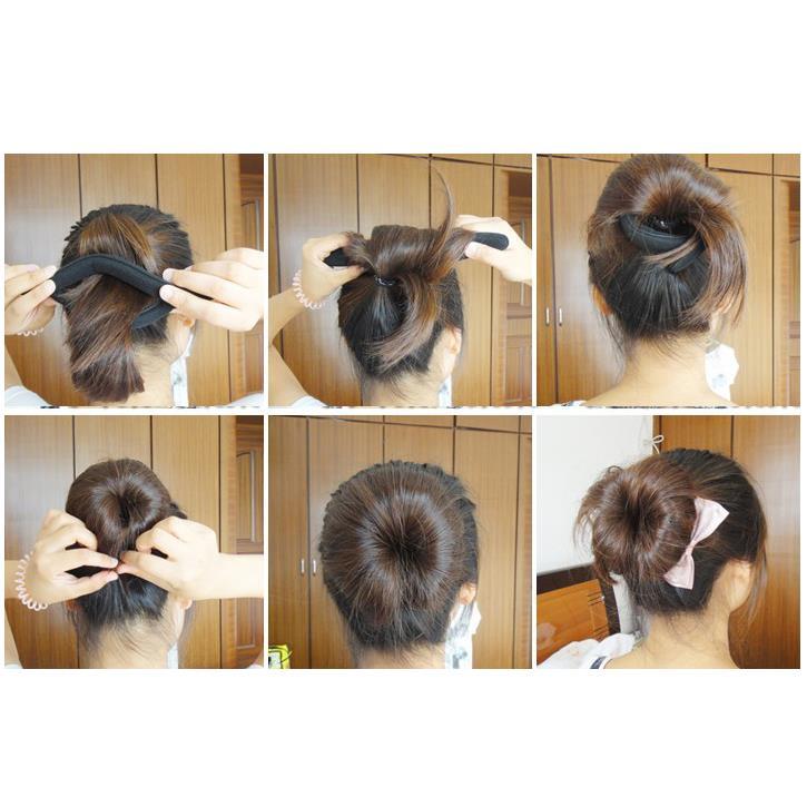 MYTL est 2 Pcs Black Sponge Hair Styling Ponytail Bun Maker Holder 9 for Ladies