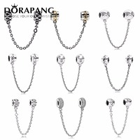 DORAPANG 925 Sterling Silver Pan Safety Chain Love Surrounds Fixed Buckle Bead Collocation Bracelet DIY Factory