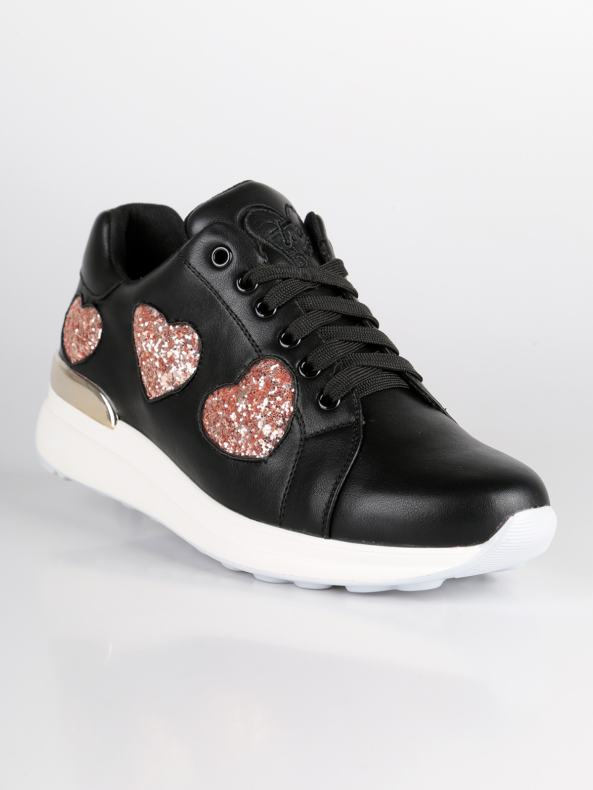 BRACCIALINI Black Sneakers With Hearts Glitter