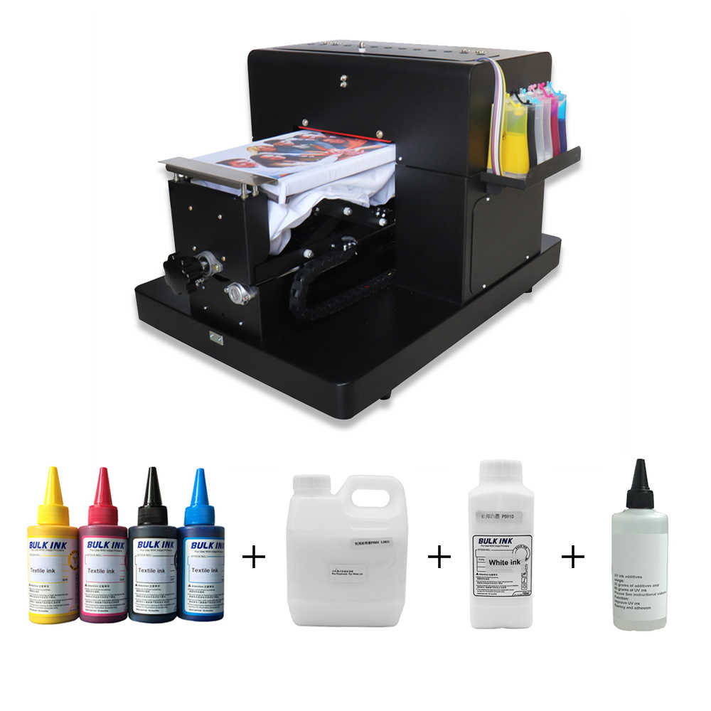Colorsun A4 Flatbed Printer T Shirt Printer Flatbed Printer untuk CD/DVD Kartu Ponsel Case/T-shirt/Pen /Plastik dengan Tinta Tekstil