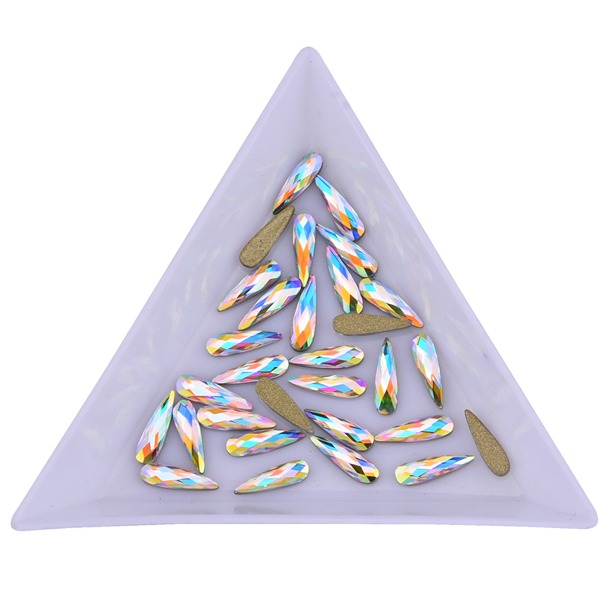 Shaped Crystal AB Raindrop Rose Gold Nail Rhinestones Glass Flat Back 3d Nail Art Decoration Marquise Diamond Charms For Nails