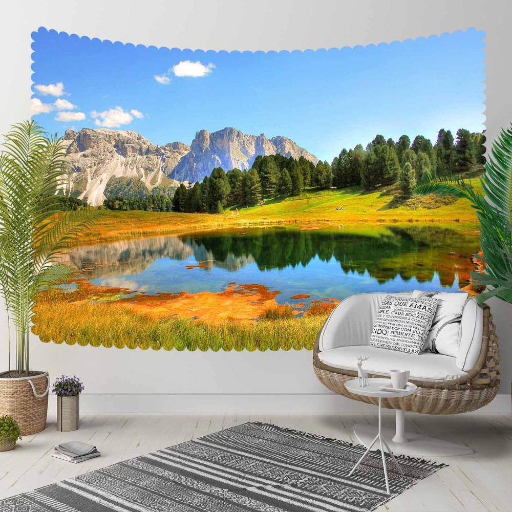 Else Blue Lake Green Naturel Floral Mountain 3D Print Decorative Hippi Bohemian Wall Hanging Landscape Tapestry Wall Art