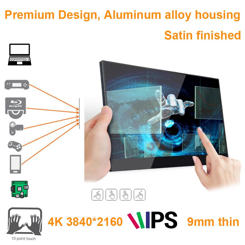 15.6 inch 4K 3840*2160 touch screen monitor (ideal for smart phones, xbox, switch, PS station game console, raspberry pi, STB)