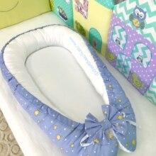 Кокон гнездышко для новорожденных детское гнездо со съемным чехлом синий звезды