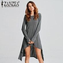 ZANZEA 7 цветов 2018 осень Для женщин Повседневное свободное платье с длинными рукавами и круглым вырезом вязаный свитер Vestido Платья для женщин плюс Размеры Детский комбинезон